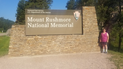 Mount Rushmore National Memorial entrance sign, Rapid City, South Dakota.