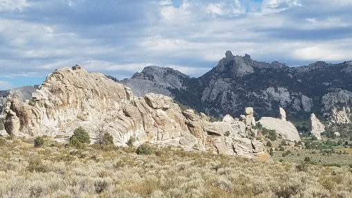 View of formations in City of Rocks National Reserve