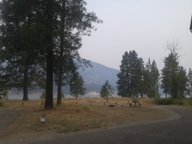 View from campsite in Kettle Falls Campground, Lake Roosevelt National Recreation Area.
