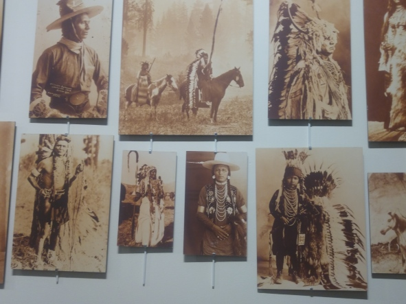 Museum exhibit of historic photos in the Nez Perce National Historic Park visitor center