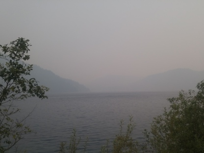 Crescent Lake on a smoky day. Olympic National Park.