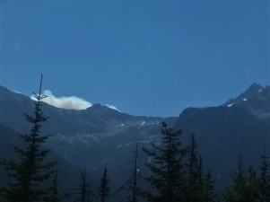 Wildfire smoke on a ridge between Washington Pass and Rainy Pass. North Cascades National Park.
