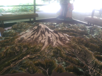 Three dimensional display of Mount Rainier in the Ohanapecosh Visitor Center. Mount Rainier National Park.