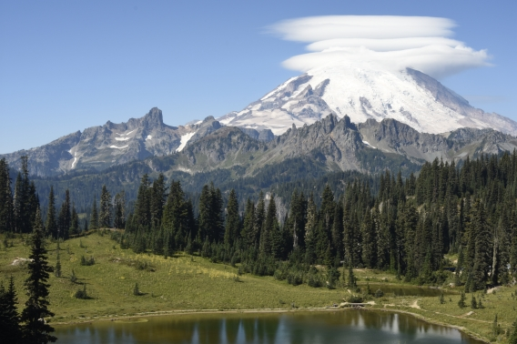 Mount Rainier as seen from Tipsoo Lake near Chinook Pass.