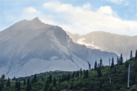 Mount Saint Helens with steam rising from lava dome.