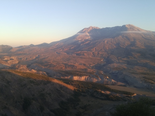 Mount Saint Helens North side as seen from Loowit Viewpoint. North Fork of Toutle River channel is in middle. Mount Saint Helens National Volcanic Monument.