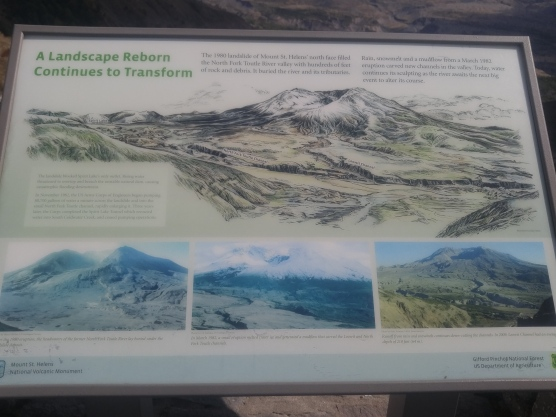 Display showing different views of the Toutle River valley. Right after the 1980 eruption, in 1982 and in 2009. Mount Saint Helens National Volcanic Monument.