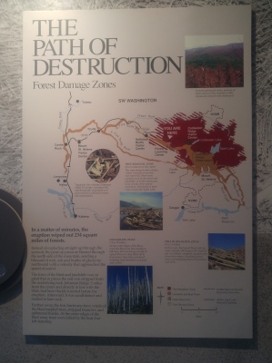 Display in Forest Learning Center about blast zones of the eruption. Mount Saint Helens National Volcanic Monument.