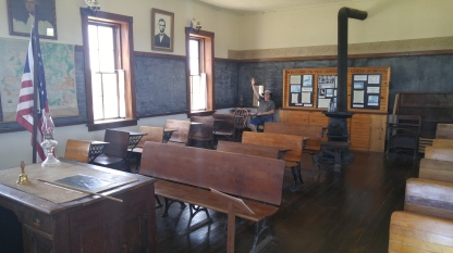 Interior of the Lower Fox Creek Schoolhouse at the Tallgrass Prairie National Preserve.