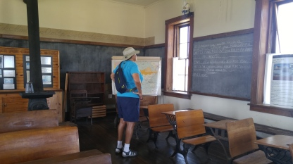 Checking out the chalkboards at the Lower Fox Creek Schoolhouse. Tallgrass Prairie National Preserve.