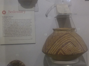 Pottery from the Sedentary period of the Hohokum people in a display at the visitor center of the Casa Grande Ruins National Monument.