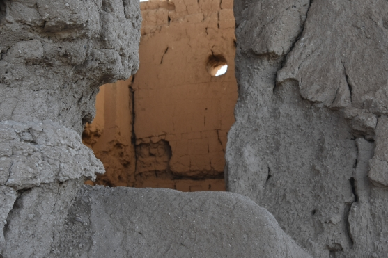 Summer solstice window of the Great House. Casa Grande Ruins National Monument.