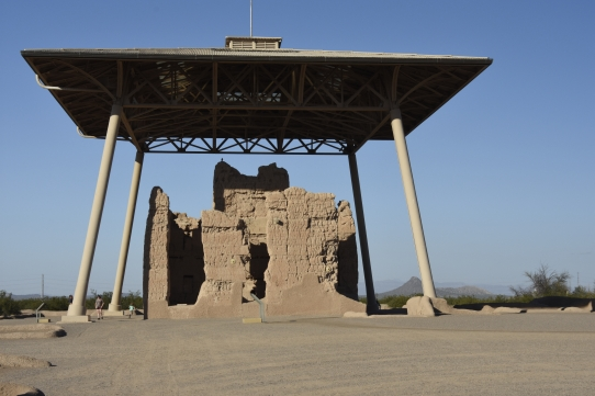 The Great House under its protective shelter. Casa Grande Ruins National Monument.