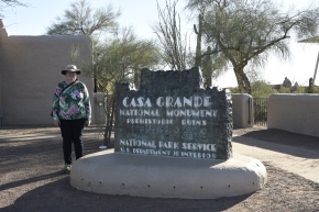 The old entrance sign to the Casa Grande Ruins National Monument.