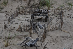 Fun with driftwood. Closeup of main shelter. Indiana Dunes National Lakeshore.